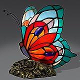 ADM Farfalla Lampada da comodino con paralume in vetro saldato lavorazione Tiffany e base in resina bronzata AB08019