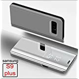 Mobistyle - Smart Semi Clear View Mirror Flip With Luxury Stand Back Cover Case For Samsung S9 Plus (Silver)