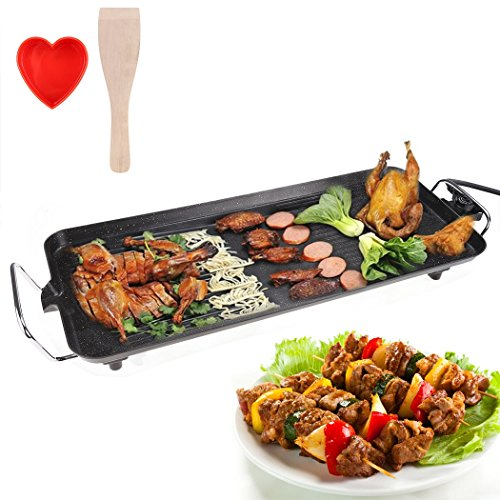 Teamyy SS-06 Multifunktions Elektrogrill Grill Pfanne Steak Grill Grillofen Spießgrill Teppanyaki Partygrill Braten 68 x 28 cm