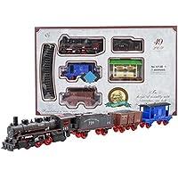 Chemin de fer réglé électriquement train classique - locomotive à vapeur, 3 wagons et accessoires - Locomotive électrique - 49 parties