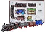 BSD Eisenbahn elektrisch Set Classic Train - Dampflokomotive, 3 Wagen und Zubehör - Elektrische Lokomotive - 49 Teile
