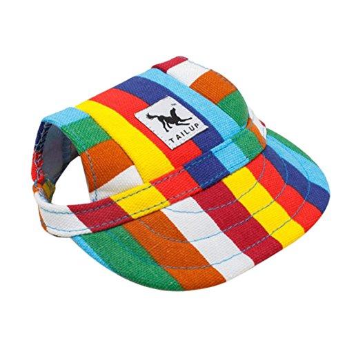 RETUROM Ropa para Mascotas, Verano pequeño Mascota Lona Perro béisbol Visera Sombrero Gorras al Aire Libre (S, I)