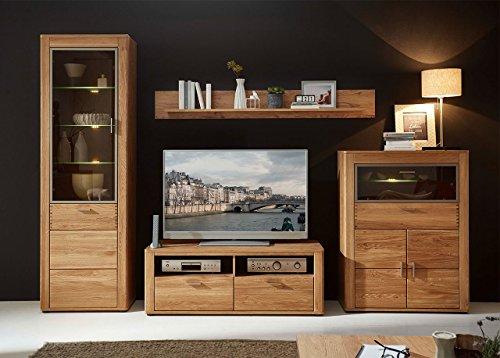 Wohnzimmerschrank, Wohnwand, Schrankwand, Anbauwand, Fernsehwand, Wohnzimmerschrankwand, Wohnschrank, Wildeiche, Eiche, teilmassiv, Beleuchtung