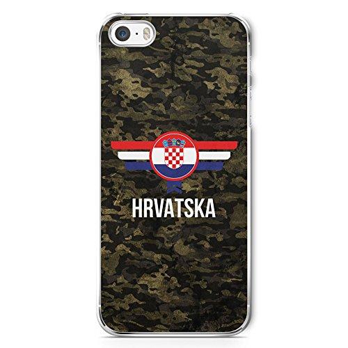 Hrvatska Kroatien Camouflage mit Schriftzug - Handy Hülle für iPhone 5 | 5s | SE - Hard Case Cover Schutzhülle - Croatia Flagge Flag Military - Iphone 5s Militär Für Schutzhülle