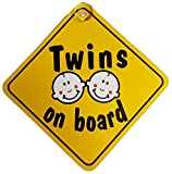 Twins On Board Suction Cup Safety Fun Car Display Window Badge New On Board Sign