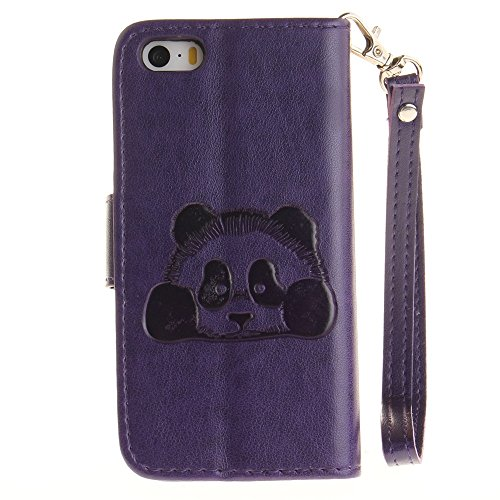 iPhone Case Cover IPhone SE 5S Case, couleur unie 3D Cute Panda Embossed Housse en cuir PU avec Lanyand Card Slots pour iPhone SE 5S ( Color : 1 , Size : IPhone SE 5S ) 10