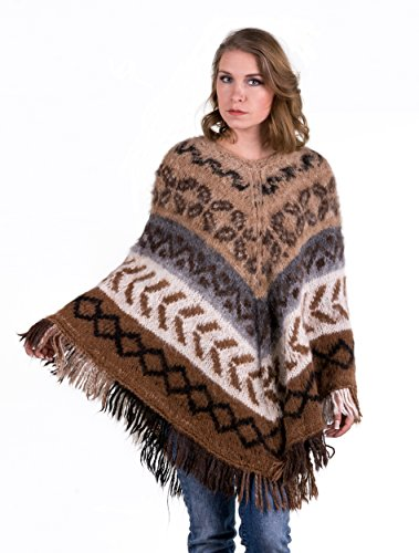 Peruanische Alpaka-pullover (Rustikaler Poncho-Lang)