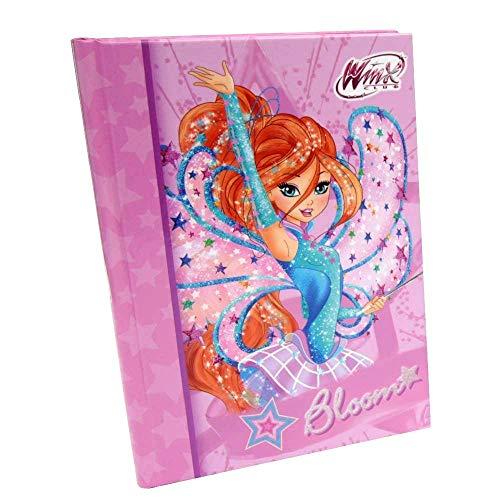 Winx. DIARIO Scuola Bloom Rosa Fata Blu Standard Originale 21x15cm + portachiave girabrilla + Omaggio Penna Glitterata + SEGNALIBRO