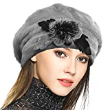 Damen Wolle Barette Angola Kleid Beanie Schädel Mützen Stricken Winter Hüte (Grau)