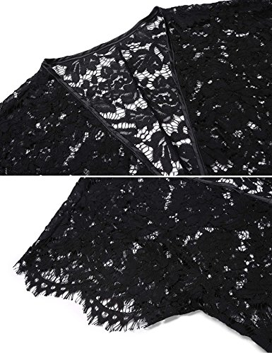ADOME Damen Spitze Morgenmantel geblümte Kimono Nachtwäsche semi-transparent Reizwäsche mit Satin Band G-String Schwarz