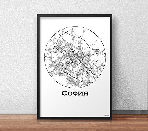Plakat Sofia Bulgarien Minimalist Map - City Map, Dekoration, Geschenk (Sofia Dekorationen)
