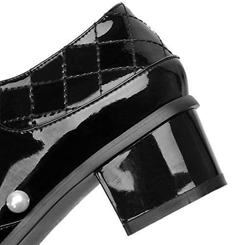 VogueZone009 Femme Verni Lacet Fermeture D'Orteil Rond à Talon Correct Couleurs Mélangées Chaussures Légeres Noir