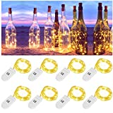 LE 1M 20 LED Micro Copper Wire Lights, Warm White Battery Operated Fairy String Lights, IP65 Waterproof Bottle Lights for DIY, Wedding, Party and More, Pack of 8