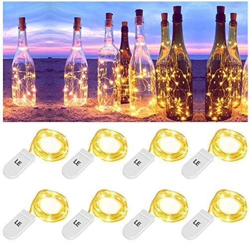 LE Lichterkette, 8er 20LEDs Micro kupfer Lichterkette, Drahtlichterkette Jeweils 1M, IP67 wasserdicht, Batteriebetrieben, ideal für Weinflasche Innen Außen Party