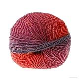 Shoppy Star 1 Knäuel 50 g Regenbogenfarben Wollmischgarn handgewebt Häkelgarn Kaschmir Anti-Pilling Anti-Fade zum Stricken 018