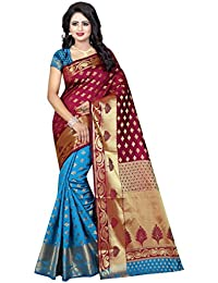 Wedding Villa Women's Banarasi Silk Jacquard Woven Saree With Blouse Piece - RAABTA_MAROON_Free Size