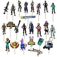 hizoop 24pcs gaming party supplies gateau d anniversaire decoration de gateau de fete d - figurine pop fortnite avec pioche