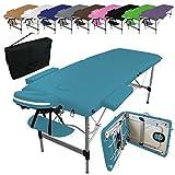 Vivezen  Table de massage pliante 2 zones en aluminium + Accessoires et housse de transport - 10 coloris -...