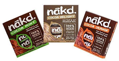 Nakd Raw Wholefoods Bars Mixed Cocoa Case Mint, Orange, Chocolate (Pack Of 24 Bars)
