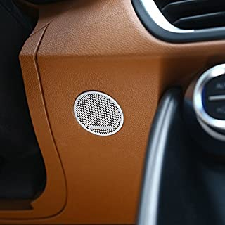 CarbonAluminum Alloy Accessories Front Steering Wheel Speaker Decoration Frame Cover Trim Auto Stickers For Giulia 2017