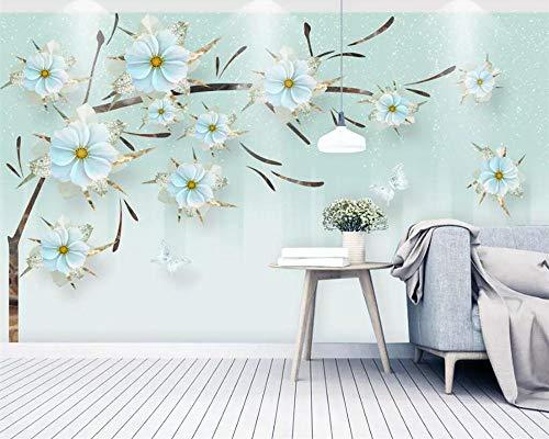 Tapete Wandbild 3D Geprägte Juwelen Blumen Modernen Minimalistischen TV Hintergrund Wand 3D Wohnzimmer Schlafzimmer Seidentuch Kleber senden (Juwel-kleber)