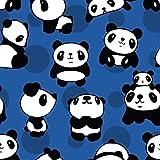 0,5m Jersey Panda blau 5% Elasthan 95% Baumwolle Meterware