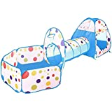 Children 3 In 1 Play Tent, Kids Playhouse & Play Tunnel & Ball Pit Full Set by Wonder Space, Indoor/Outdoor Use, Ideal Gift for Boys and Girls (PolkaDot Blue)