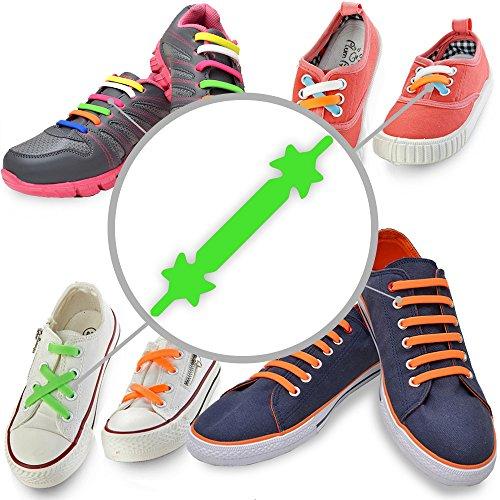 Gummi Schnürsenkel (Grün - Erwachsene) – Elastische Silikonschnürsenkel mit besonderem Design, einfaches Schnüren und Aufschnüren – Perfekt für Kleinkinder Vorschulkinder körperlich benachteiligte Kinder, oder ältere Menschen mit Arthritis