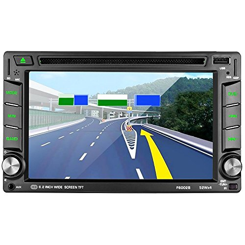 Reproductor Multimedia para coche LESHP 6.2' Pantalla táctil autoradio 2 din Navegador GPS Coche Win CE Bluetooth / Soporta 1080P HD Video/ Control de Volante / FM AM / DVD / USB / SD / AV-OUT