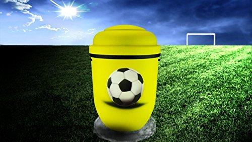 Biologisch abbaubar Verbrennung Asche Urne–Erwachsene Größe–Fußball Design–Gelb & Schwarz