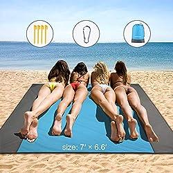 HAMSWAN Picknickdecke 210 x 200 cm, Stranddecke wasserdichte, Sandabweisende Campingdecke 4 Befestigung Ecken, Ultraleicht kompakt Wasserdicht und sandabweisend