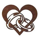 Gartendeko, Herz mit Eheringen, Edelrost, Rost, Metall in Edelrostoptik, rostige Dekoration für den Garten, wetterfest, für draußen und drinnen, Edelstahl, Rostoptik, Wowierostikal