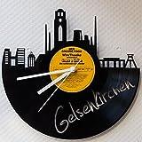 GRAVURZEILE Wanduhr aus Vinyl Schallplattenuhr Skyline Gelsenkirchen Upcycling Design Uhr Wand-Deko Vintage-Uhr Wand-Dekoration Retro-Uhr Made in Germany