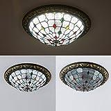 Europäische Tiffany Perlen Pteris Schlafzimmer LED Deckenleuchte Study Room Vintage Deckenleuchte Lampe Wohnzimmer Veranda Balkon LED Deckenleuchte Leuchten Tiffany small