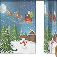 jstel Merry Christmas 2 pezzi tenda in voile, colore blu notte d' inverno Natale Babbo Natale alce, Tulle Sheer Curtain Drape Valance 139,7 x 198,1 cm Set di due pannelli, Poliestere, Blue, 55x78x2(in)
