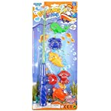 Childrens Kids Toy Fishing Game Set - 5 Fish and Toy Rod Party Game