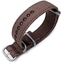 Zulu 22mm Dark Brown Watch Strap, Stitching Black, MiLTAT Thick X2 Washed Canvas
