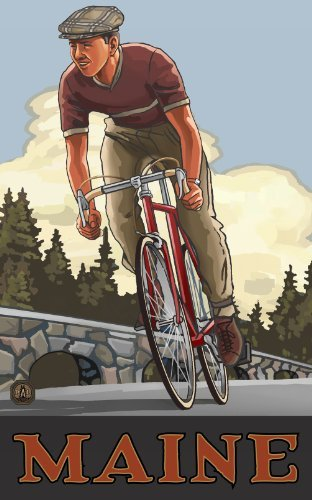 Northwest Art Mall Bicycling Maine Wall Art by Paul A Lanquist, 11 by 17-Inch by Northwest Art Mall