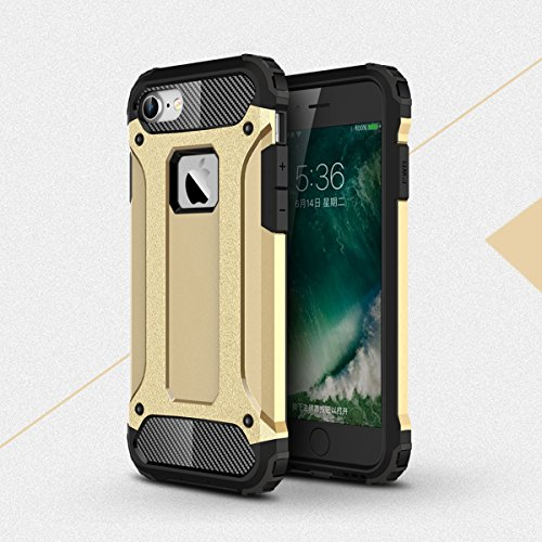 Coque iPhone 7, Forhouse [Ultra-Ajusté] Full Body Protection Double Couche Coque Doux Ultra Mince Svelte TPU Heavy Duty Dur PC 2 in 1 Hybride Durable Brillant Antidérapant Antichoc Impact Protection d d'or