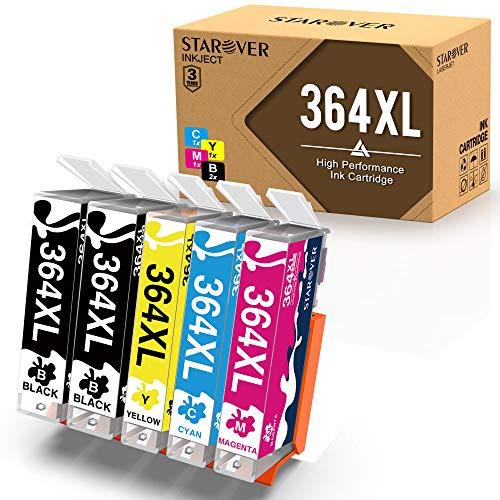 STAROVER 5x Kompatibel Druckerpatrone Ersatz für HP 364XL 364 XL Passend für Für HP Photosmart 5520 6520 7510 5510 5514 5515 5524 6510 7520 D5460 C6380 C5380 Deskjet 3070A 3520 Officejet 4620