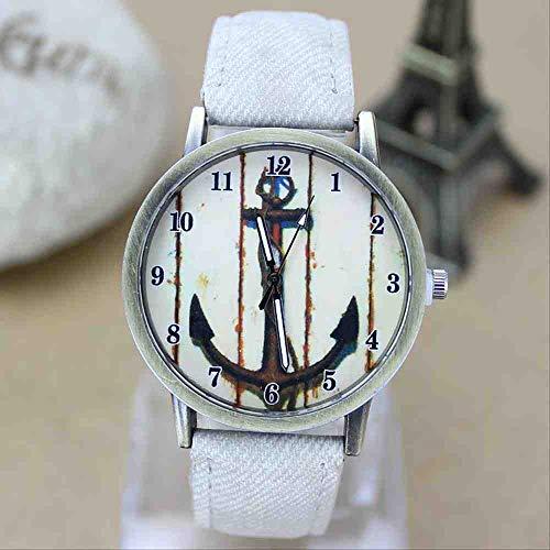 OLUYNG Reloj de Pulsera Vintage Rust Boat Anchor Denim Canvas Belt Watch Reloj de Moda Niños y niñas...