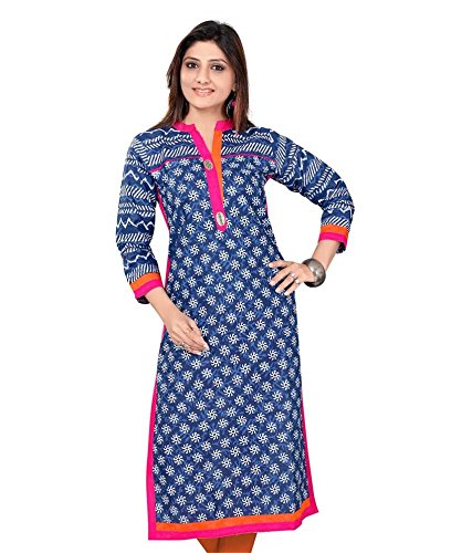 Kurta For Women Kurtis For Girls Cotton Long Blue Kurties Latest Kurtis...