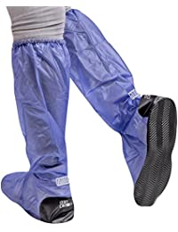 Waterproof shoe covers in PVC - sturdy and reusable - with anti-slip reinforced sole - overshoes protector against rain and mud - long model - Black / Blue