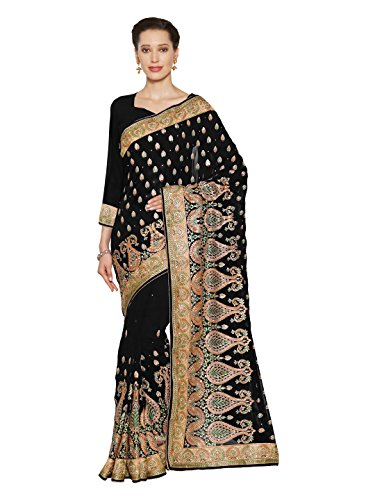 SOURBH Women's Heavy Embroidered Wedding Bridal Saree with blouse piece (3797_Black)