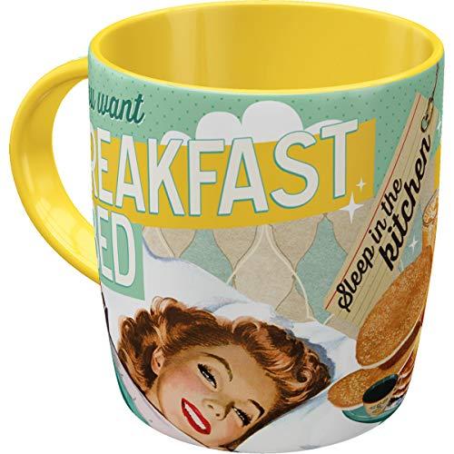 Retro Kaffee-Becher Say it 50's - Breakfast in Bed, Lustige große Tasse mit Spruch, Geschenk-Idee für Vintage-Liebhaber, 330 ml ()