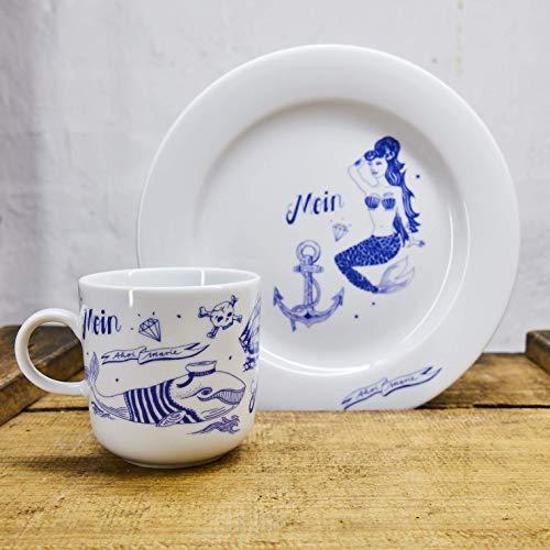 Kaffeebecher und Teller Set - Motiv Seefahrer Meerjungfrau - Maritime Porzellan-Tasse und Teller original aus dem Norden