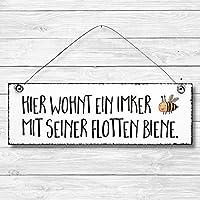 Imker - Biene Türschild Dekoschild Wandschild Holz Deko Schild 10x30cm Holzdeko Holzbild Deko Schild Geschenk Mitbringsel Badezimmer