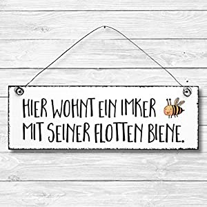 Imker – Biene Türschild Dekoschild Wandschild Holz Deko Schild 10x30cm Holzdeko Holzbild Deko Schild Geschenk…