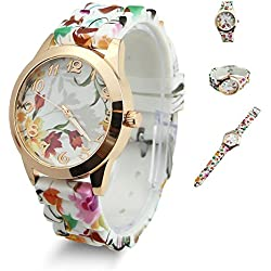 Estone Hot Fashion Women Dress Watch Silicone Printed Flower Causal Quartz Wristwatches (Orange)