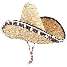 29a830855de05 Amosfun Sombrero Mexicano Sombrero Sombrero de Paja con Pompom Estilo  Hawaiano Vestir Accesorios Suministros para Fiestas